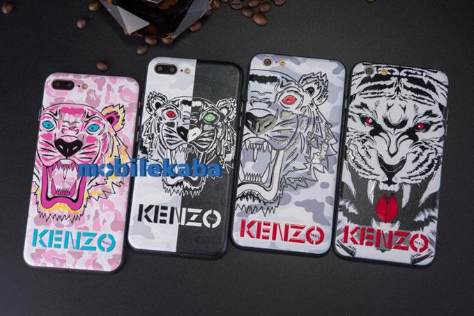 カップル ブランド ケンゾー KENZO トラ柄 虎頭 iPhoneX iPhone8 iPhone7 ケース人気ブランド風ケンゾーkenzo黒白トラ柄iPhoneX/8Plus/7ケース